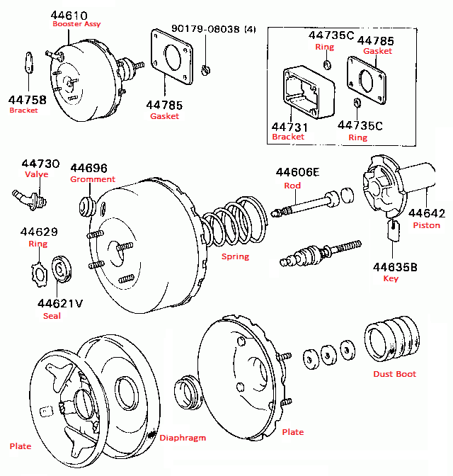 Oct, 2014 TOYOTA NEW BRAKE BOOSTER & SPARES REPAIR KITS